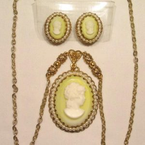 West German Key Lime Cameo Necklace and Earrings Set