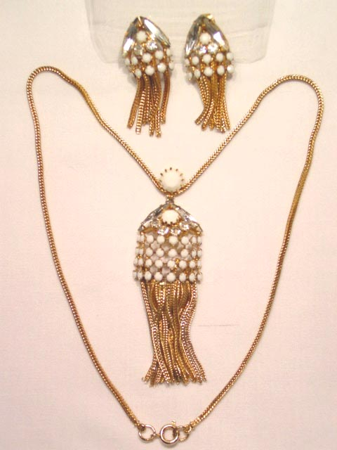White Milk Glass Fringed Necklace and Earrings Set