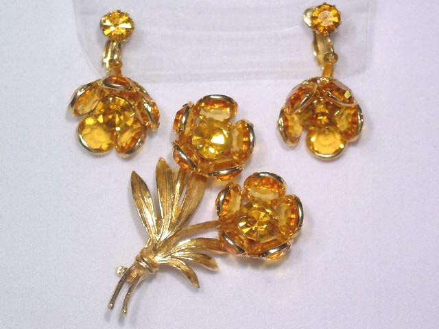 Topaz Floral Pin and Earrings Set