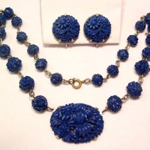 Carved Navy Blue Glass Necklace and Earrings Set