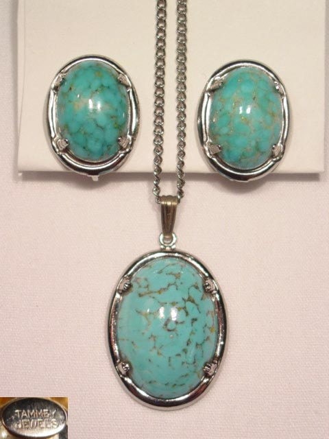 Tammey Jewels Imitation Turquoise Necklace and Earrings