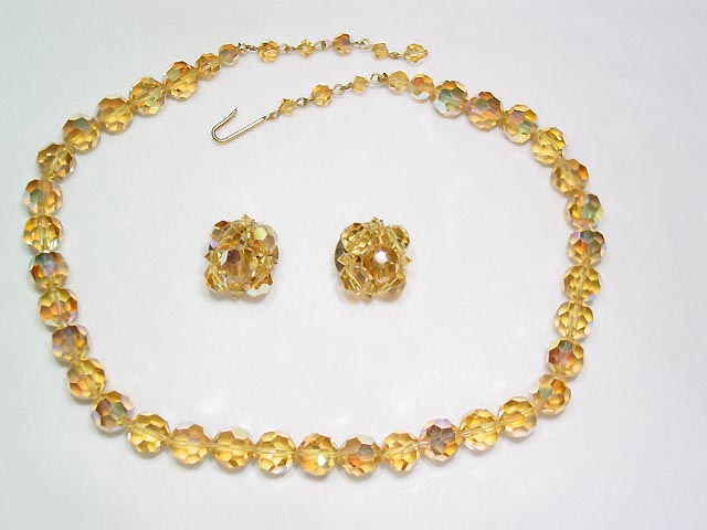 Honey Colored Aurora Borealis Necklace and Earrings Set
