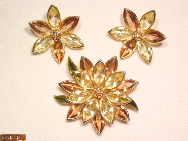 Beautiful Lisner Topaz and Yellow Flower Pin and Earrings Set