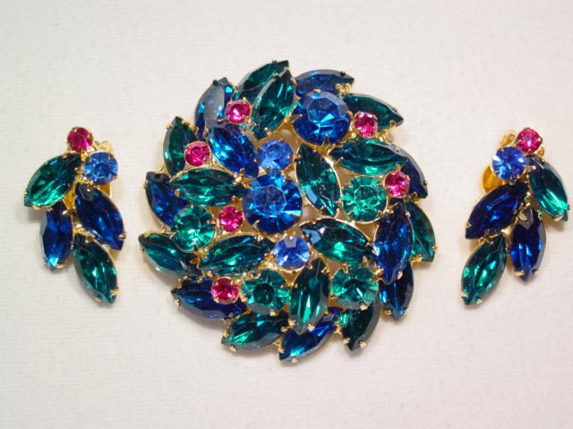 Vibrant Green, Blue and Magenta Pin and Earrings Set