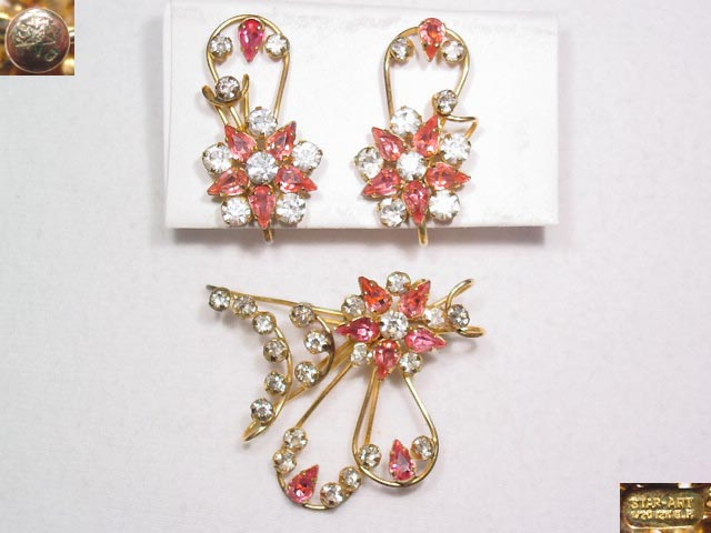 Star Art Pink and Clear Rhinestone Pin and Earrings Set