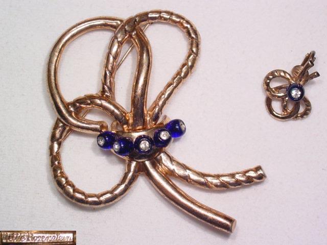 Fabulous Nettie Rosenstein Sterling Ribbon Pin (and Earring)