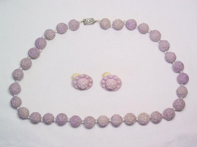 Lavender Rose Petal Necklace and Earrings Set
