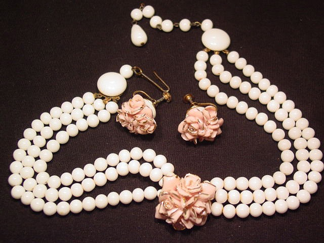 Porcelain Pink Roses Necklace and Earrings Set