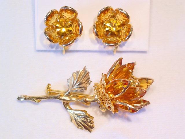 Beautiful Topaz Rose Bud Pin and Earrings Set