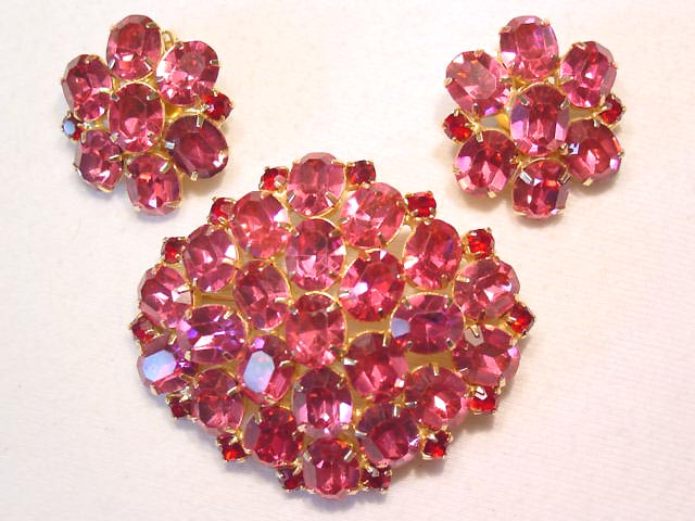 Vibrant Pink Oxford Pin and Earrings Set
