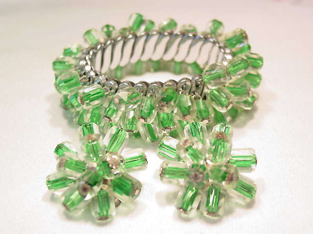 Striped Green and Clear Glass Bracelet and Earrings