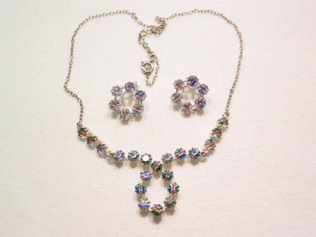 800 Silver Rainbow Rhinestone Necklace and Earrings