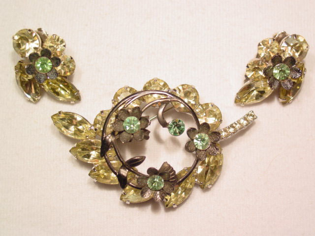 Yellow Floral Pin and Earrings Set