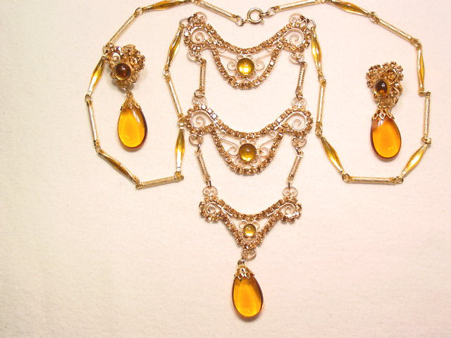 Topaz Bib Necklace and Earrings Set