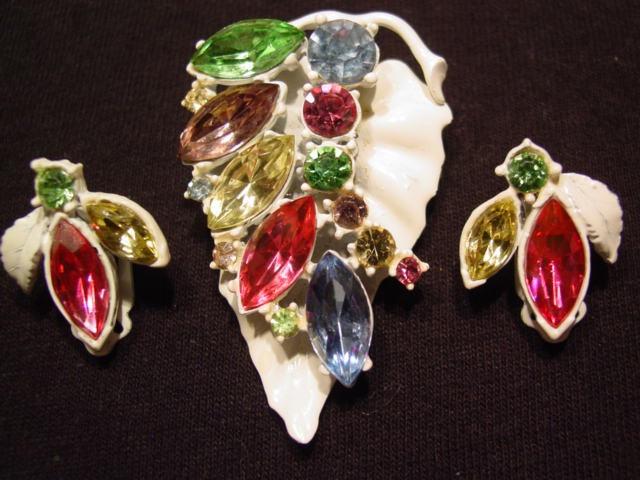 White Enamel Pastel Rhinestone Leaf Pin and Earrings Set