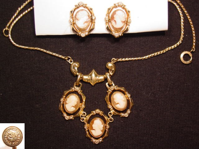 Petite Real Shell Cameo Necklace and Earrings Set
