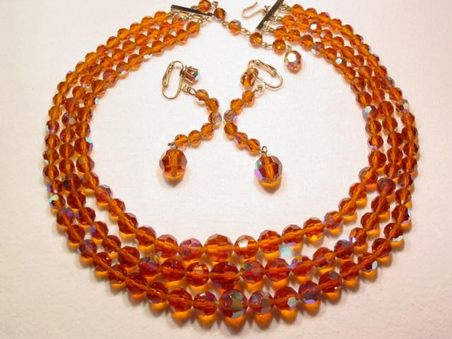 Three Strand Brown Aurora Borealis Necklace and Earrings Set