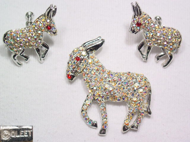 Aurora Borealis Donkey Pin and Earrings Set