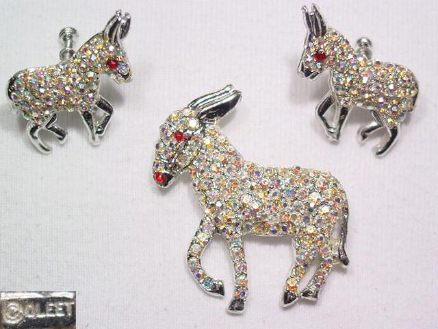 Aurora Borealis Donkey Pin and Earrings Set