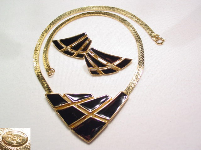 Trifari Black Enamel Necklace and Pierced Earrings Set
