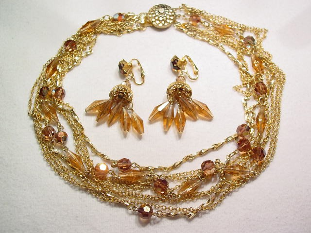 Smoky Topaz Colored Aurora Borealis Necklace and Earrings Set