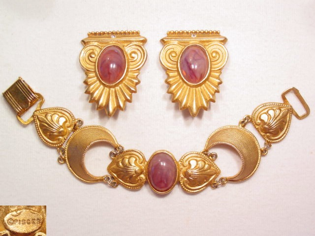 """Pisces"" Etruscan Style Bracelet and Earrings"