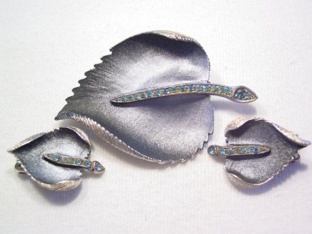 Blue Rhinestone and Black Leaf Pin and Earrings Set