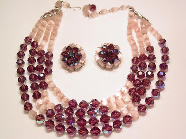 Fantastic Purple Aurora Borealis and Pink Satin Glass Necklace and Earrings Set