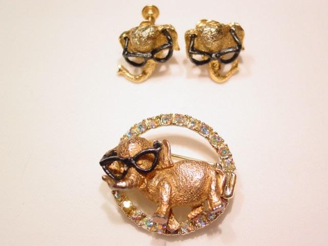 Elephants Wearing Glasses Pin and Earrings Set