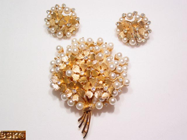 B.S.K. Pearl and Rhinestone Flower Bouquet Pin and Earrings Set