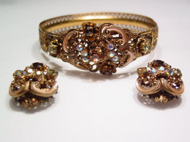 West Germany Topaz and Cream Bracelet and Earrings Set
