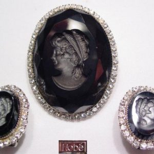 Beautiful Black and Rhinestone Hobe Intaglio Cameo Set