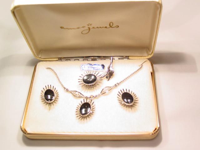Amco Jewels Sterling and Onyx Parure in Original Box