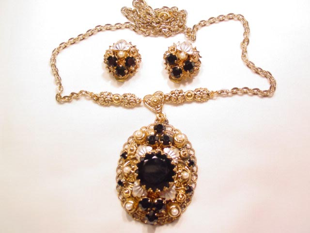 Black and Imitation Pearl West Germany Necklace and Earrings