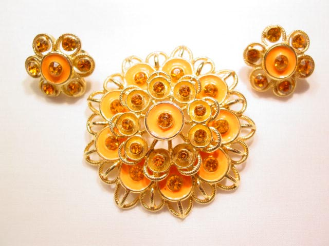 Bright Orange Enamel and Rhinestone Pin and Earrings