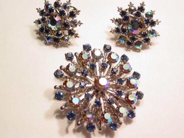 Brown Aurora Borealis and Navy Rhinestone Snowflake Pin and Earrings