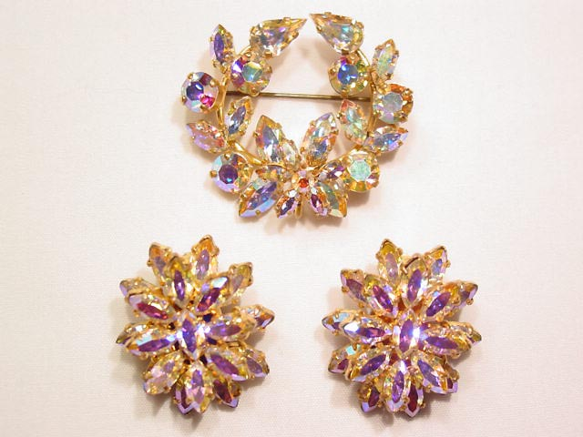 Beautiful Austria Aurora Borealis Pin and Earrings Set