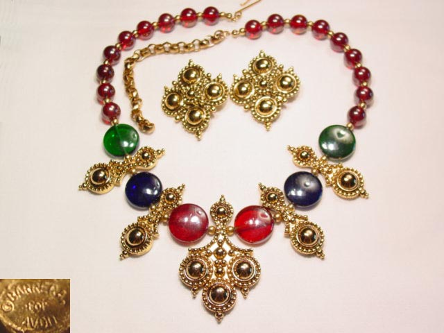 Berrera for Avon Red, Blue, and Green Necklace and Earrings Set