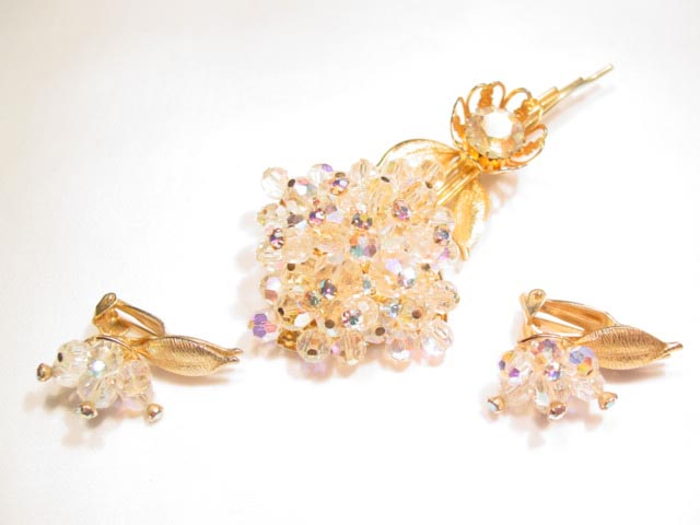Bright Aurora Borealis Flower Pin and Earrings Set