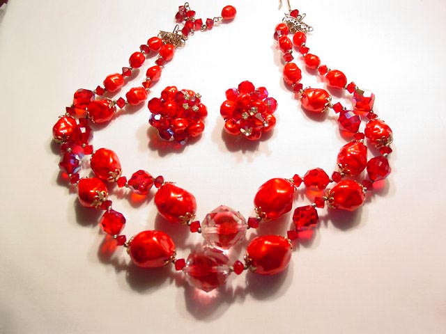 Vibrant Red and Aurora Borealis Necklace and Earrings Set