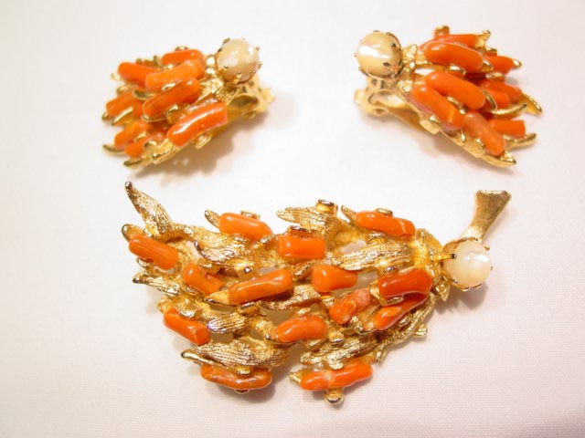 Coral and Mother of Pearl Branches Pin and Earrings