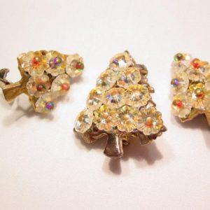 Flower Aurora Borealis Rhinestone Christmas Tree Pin and Earrings