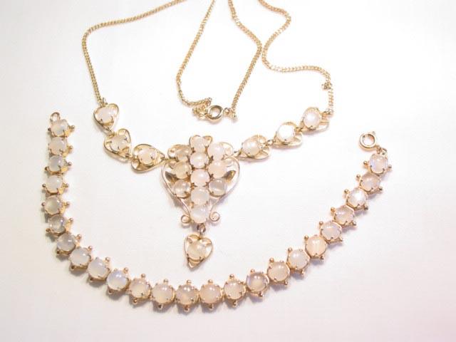 Delicate Moonstone Rhinestone Bracelet and Necklace