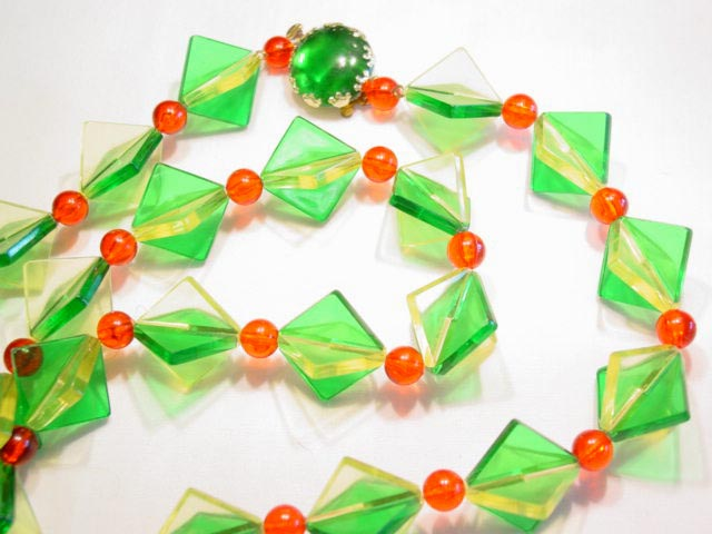 Plastic West German Christmas Necklace and Earrings