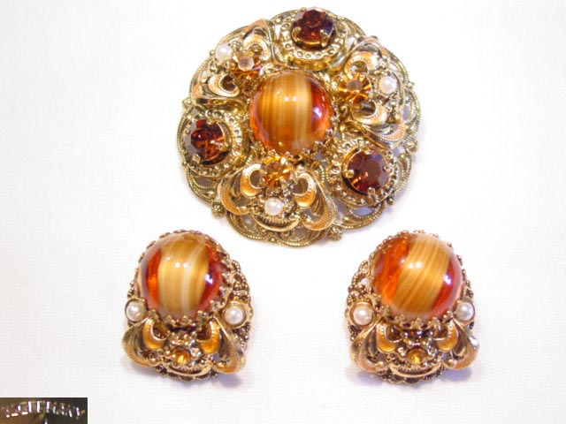 Wonderful Topaz-Colored West German Pin and Earrings Set