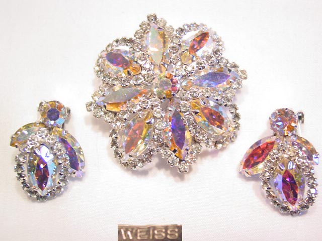 Aurora Borealis and Rhinestone Weiss Pin and Earrings Set