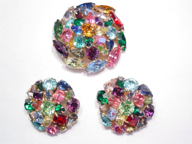 Chunky Multicolor Rhinestone Pin and Earrings Set