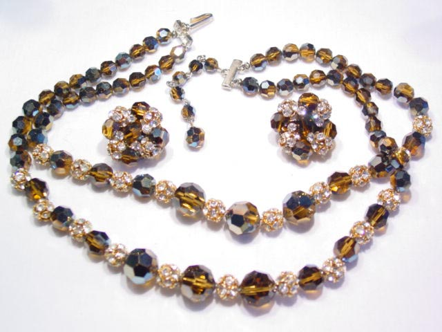 Brown Aurora Borealis and Rhinestone Ball Necklace and Earrings Set