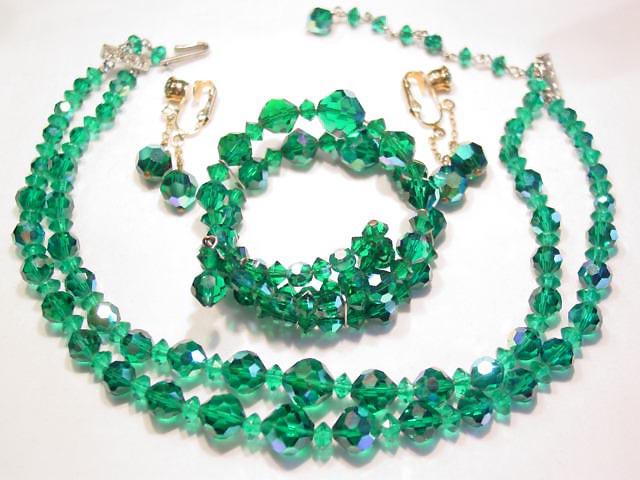 Vibrant Green Glass Aurora Borealis Parure