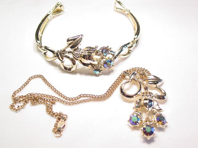 Aurora Borealis Floral Necklace and Bracelet Set